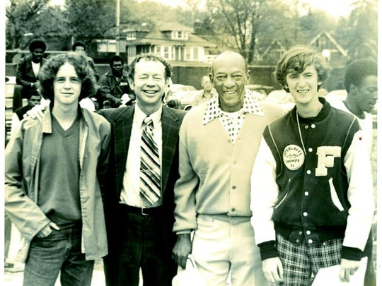 From left: Pat Davey, Chuck Davey, Jesse Owens and Mike McGuire on May 17, 1974.