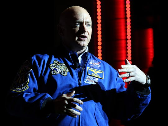Captain Mark Kelly, Commander of Space Shuttle Endeavour's Final Mission, Space and Aviation Contributor for NBC News/MSNBC speaks at the Fuel leadership one day motivational seminar hosted at the Motorcity Soundboard in Detroit Thursday, April 21, 2016