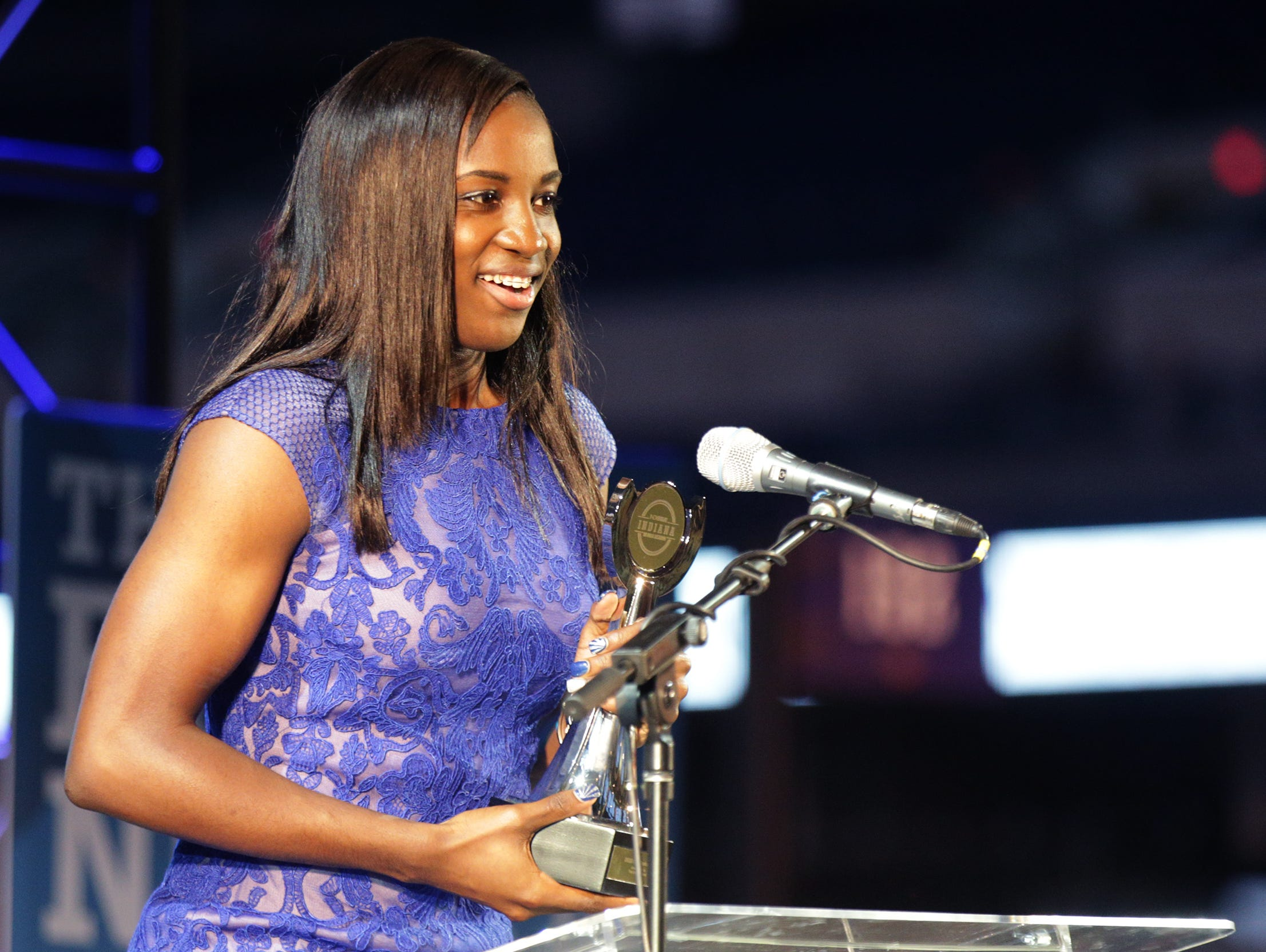 Jackie Young, of Princeton High School, was named IndyStar Miss Basketball and the IndyStar Female Athlete of the Year. IndyStar held the Indiana Sports Awards, Thursday, April 28, 2016 at Lucas Oil Stadium where they honored the outstanding accomplishments of 200+ high school athletes in 28 sports. The featured guest speaker was Indianapolis Colts' quarterback Andrew Luck. The evening's host was WNBA Indiana Fever Head Coach Stephanie White. Celebrity presenters included Indiana Fever All-Star Tamika Catchings, IndyCar driver Ed Carpenter and IndyStar's own sports columnist Gregg Doyel.