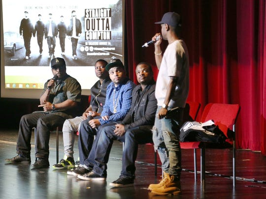 """From left, Ice Cube, producer of """"Straight Outta Compton,"""";"""