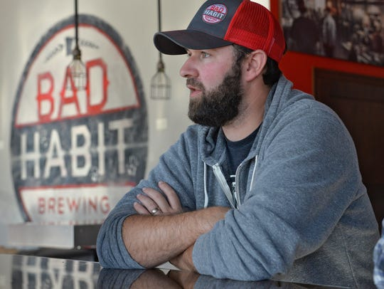 Brewery co-founder Aaron Rieland talks about the first anniversary of the business in October 2016 at Bad Habit Brewing Co. in St. Joseph.