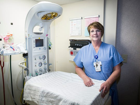 Bea Bray, a nurse for 43 years, at IU Health Ball Memorial