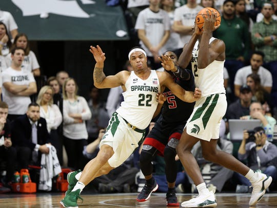 Michigan State forward Miles Bridges fights to get open against Rutgers guard Mike Williams during the first half Wednesday, Jan. 10, 2017 at Breslin Center.