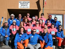 Tthe University of Missouri students with the coaches of SKi Apache Adaptive Sports.