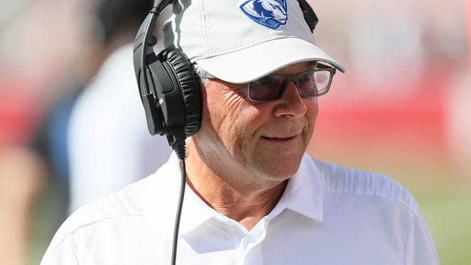 Former Eastern Illinois Panthers head coach Kim Dameron during the game against the Arkansas Razorbacks Sep 1, 2018 at Donald W. Reynolds Razorback Stadium in Fayetteville. Arkansas won 55-20.