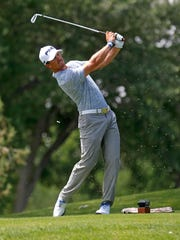 Riley Arp tees off on the 13th hole during the third round of the San Juan Open on June 25 at the San Juan Country Club in Farmington.