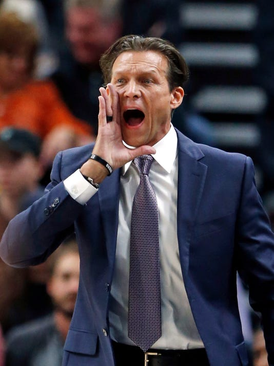 Utah Jazz coach Quin Snyder shouts to his team during the first half of an NBA basketball game against the Denver Nuggets on Wednesday, Oct. 18, 2017, in Salt Lake City. (AP Photo/Rick Bowmer)