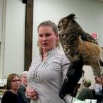 Erin O'Connell, a wildlife rehabilitator from the Sharon Audubon Center, shows an American kestrel during a recent talk.