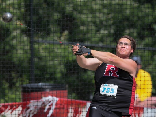 Rutgers' Rudy Winkler throws the hammer at the Big