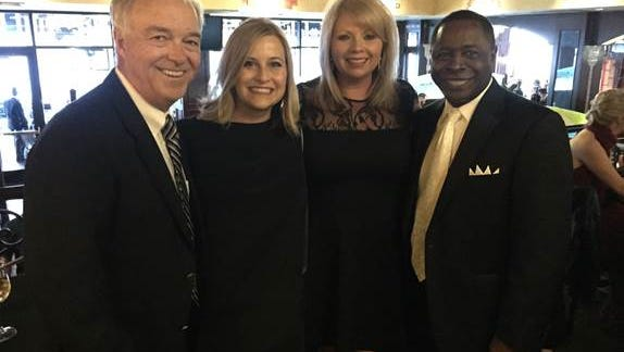 Nashville Mayor Megan Barry, second from left, attends the Leadership Music Grammy Party in Los Angeles last week with Ken Paulson, dean of the College of Media and Entertainment at Middle Tennessee State University; Diane Pearson of City National Bank, past president of Leadership Music; and Middle Tennessee State University President Sidney McPhee.
