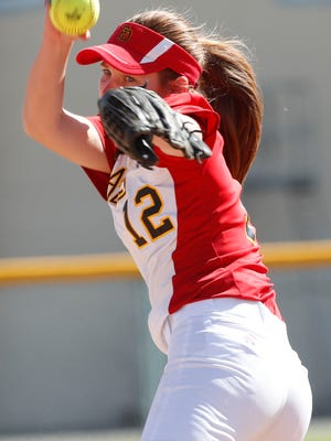 Carlie Williams of Palm Desert High School pitched a complete game and struck out 11 players against Palm Springs High School. Palm Desert won 14-3 at Palm Springs on April 17, 2018.