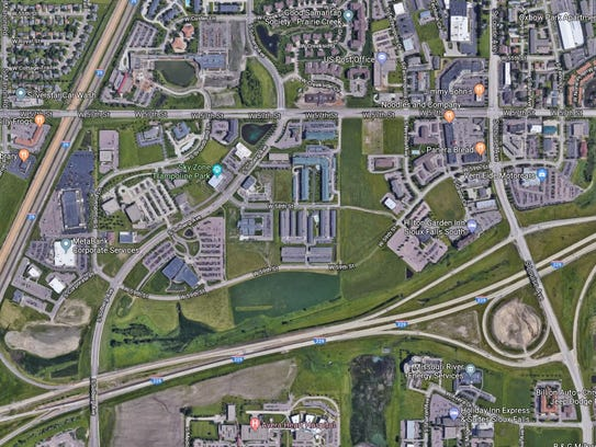 A satellite view of the future home of Citi in Sioux