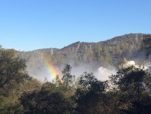 Mist from the main spillway at Oroville Dam creates