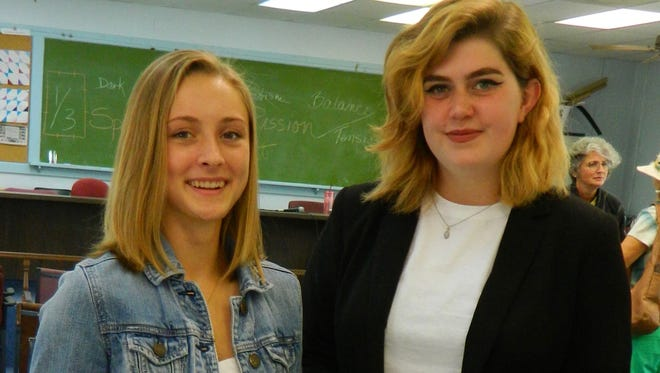 Sebastian River Art Club's Rosemary Taylor Hume Scholarship recipients Sage Parker and Madison Torrent.