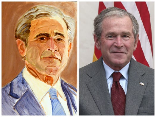 George W. Bush: The man, the president, the painter. The George W. Bush Presidential Center features Bush's paintings in an exhibit entitled 'The Art of Leadership: A President's Personal Diplomacy.' Here, see his work next to real photos of the leaders he depicts.