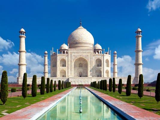 Taj mahal, Agra, India -monument of love in blue sky
