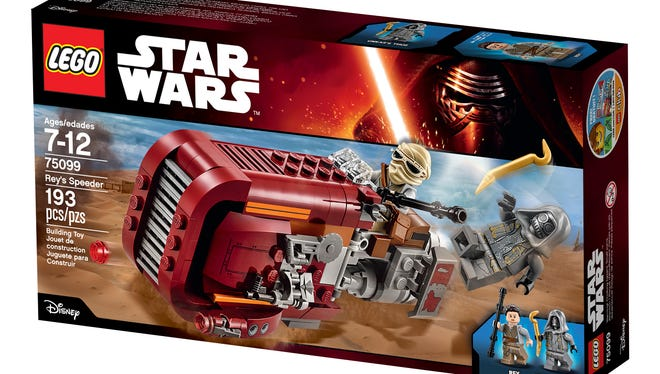 The Lego box set featuring Rey, her speeder and an Unkar's Thug.