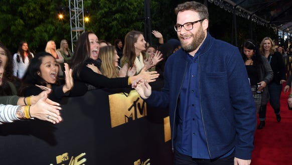 Seth Rogen meets fans before the taping of the MTV
