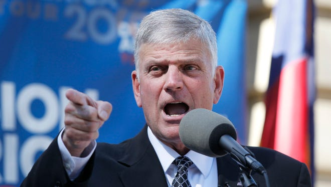 The Rev. Franklin Graham speaks during an October event in Raleigh to get evangelical Christians involved in politics.