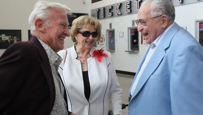 Hal Lurie, from right, Ruth Palmer and Jack Hamlin, all 90 Club members, talk before the Celebration of Life service for John Q. Hammons at JQH Arena on Tuesday, June 11, 2013. Palmer died Sept. 12, 2017.