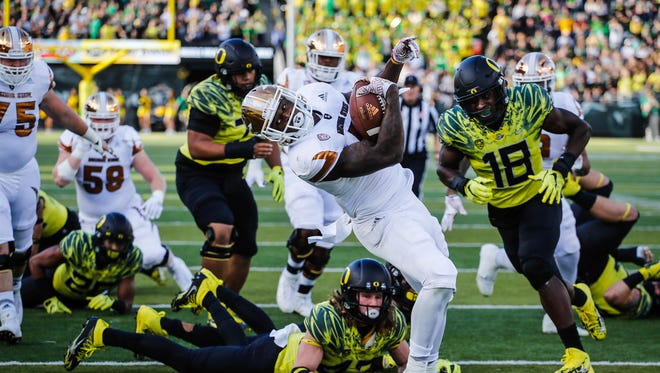 Arizona State quarterback Dillon Sterling-Cole (7), scores a touchdown in the first quarter against Oregon in an NCAA college football game Saturday, Oct. 29, 2016 in Eugene, Ore.