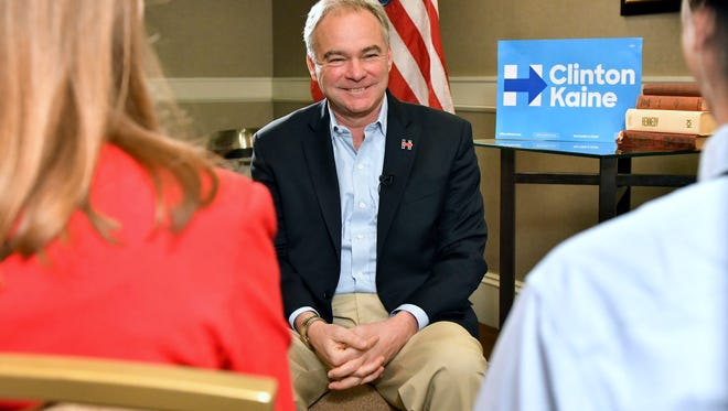 Democratic vice presidential candidate Sen. Tim Kaine, D-Va., speaks to The Associated Press during an interview in Boston, Saturday, Oct. 22, 2016.