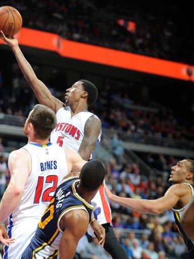 Detroit Pistons' Kentavious Caldwell-Pope scores in