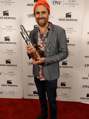"Karl Jacob of Hibbing, Minnesota (yes, Bob Dylan's hometown) with his Indie Memphis Film Festival Best Narrative Feature prize for ""Cold November."""