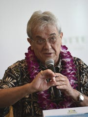 Climate Change Negotiator and Nobel Peace Prize nominee Tony de Brum addresses environmental issues during a press conference for the 2016 Island Sustainability Conference at Lotte Hotel Guam in Tumon on April 11.