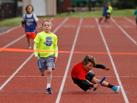 Second graders take part in the Country Kids Relay, at McCulloch Stadium, on Saturday, May 10, 2014.