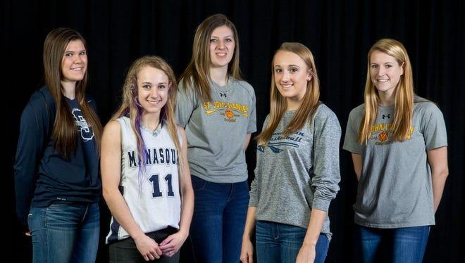 The 2016 Asbury Park Press All-Shore Girls Basketball Team of: Steph Karcz, Stella Clark, Kim Evans, Dara Mabrey and Kelly Campbell.