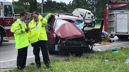 A crash between a van and a semi sent the driver of the van to the hospital Monday shortly before noon. The crash happened on North Cleveland Avenue at Diplomat Parkway in North Fort Myers, shutting down both lanes of Cleveland.