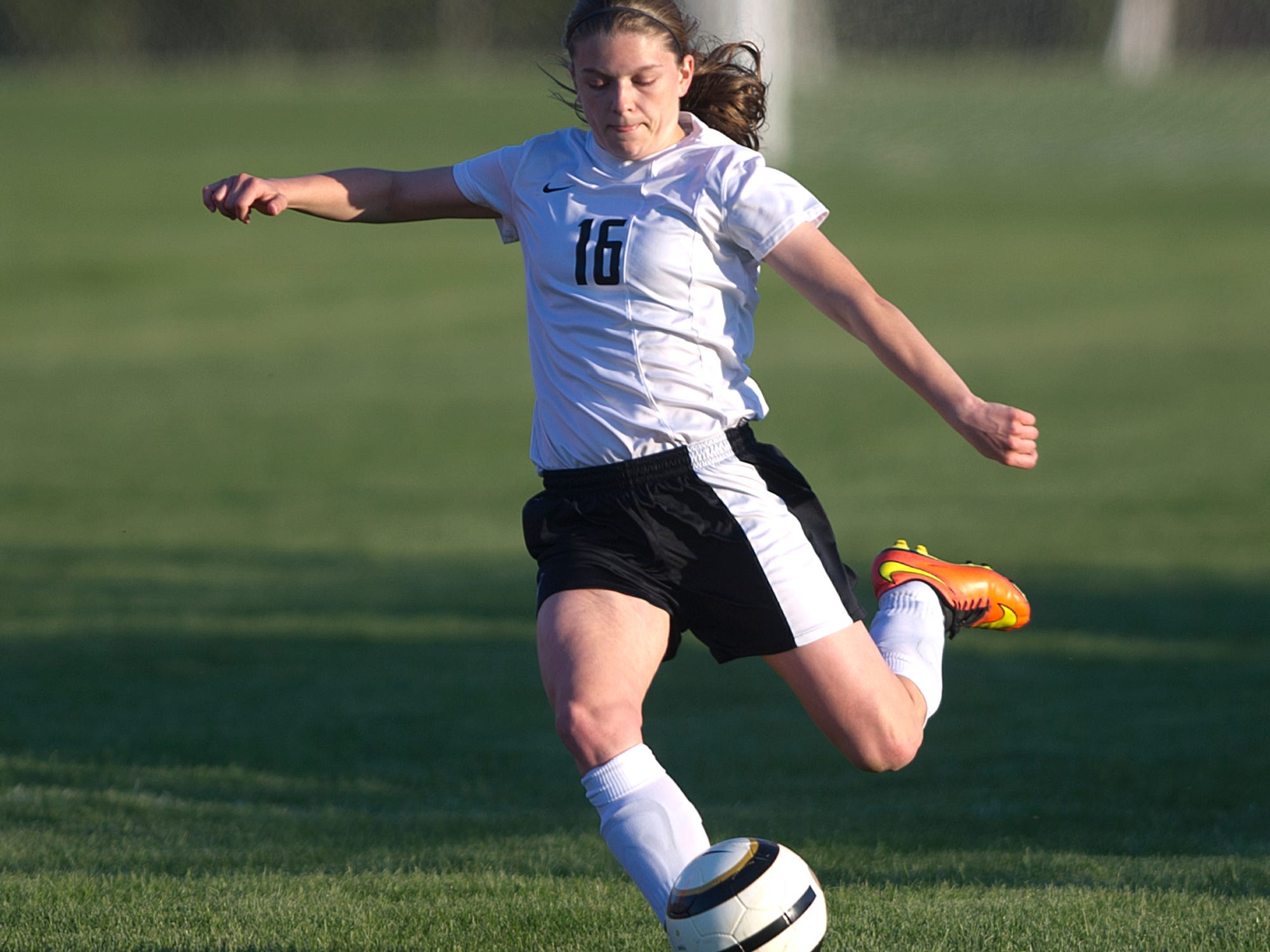Stevens Point Area Senior High's Autum Shurbert-Hetzel strikes the ball Thursday during a Wisconsin Valley Conference soccer game against Wisconsin Rapids at the Portage County Youth Soccer Complex in Stevens Point.