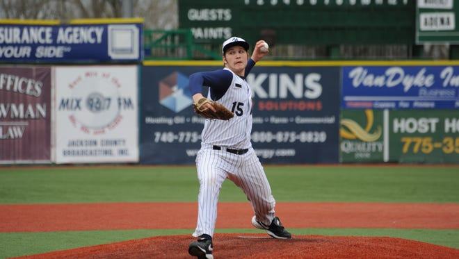 Adena's JD Blevins delivers a strike during the first inning of Saturday afternoon's game against Waverly at VA Memorial Stadium.