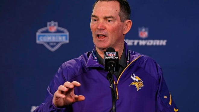 Ex-Bengals defensive coordinator and current Vikings head coach Mike Zimmer answered questions during a press conference at the NFL Scouting Combine Friday. <cutline_credit>AP/Michael Conroy</cutline_credit>