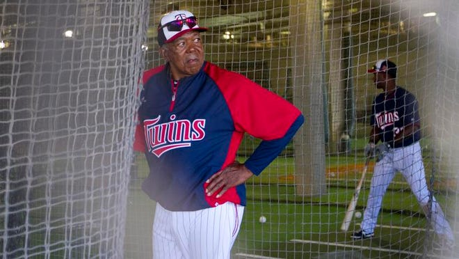 Tony Oliva hangs out in the batting cages on Wednesday before the Twins' game against the Pirates. He played his entire 15-year career with the Minnesota Twins.