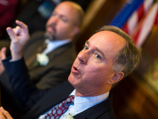 Wisconsin Assembly Speaker Robin Vos (R-Rochester) talks during a press conference at the state Capitol in Madison, Wis.