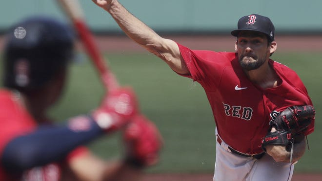Boston Red Sox starting pitcher Nathan Eovaldi delivers at Fenway Park last Thursday, July 9.