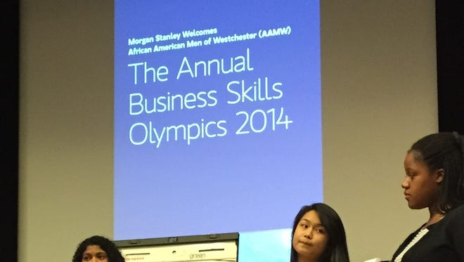 High school students making presentations at Morgan Stanley in Purchase on Friday during the African American Men of Westchester's Youth Business Skills Olympics.