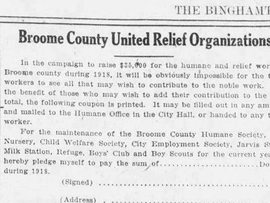 The first article referencing the Broome County United