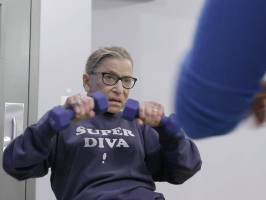 Justice Ruth Bader Ginsburg mid workout routine in