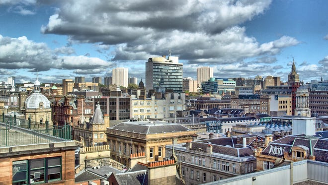 View of the city of Glasgow in Scotland.