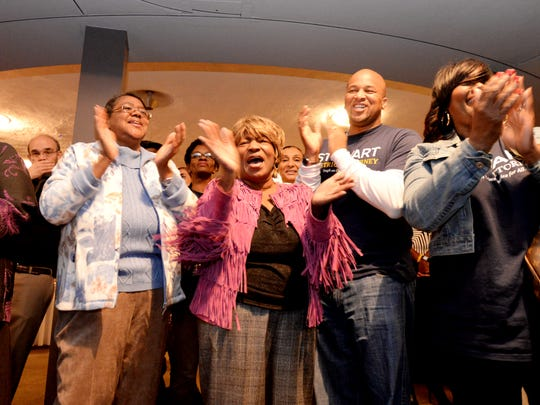 People celabrate James Stewart's win during his election night party at the Shreveport Country Club Saturday evening.