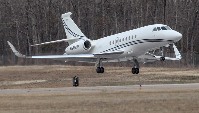 A corporate jet lifts off the runway at the Anderson Airport in Anderson earlier this year.