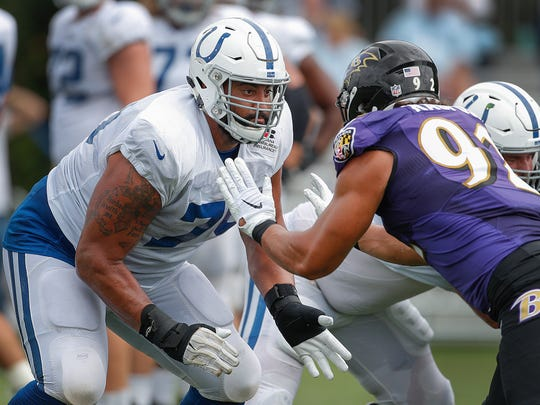 Indianapolis Colts offensive tackle Austin Howard (79)