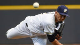 Matt Garza dances around some early trouble to pitch 6 1/3 scoreless innings against the Orioles on Wednesday night at Miller Park. The starting pitching trio of Brent Suter, Jimmy Nelson and Garza did not allow an earned run in 20 1/3 scoreless innings in leading the Brewers to a three-game series sweep.