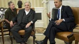 Uruguay President Jose Mujica Cordano and President Obama.