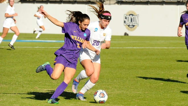 Hardin-Simmons forward Kenne Kessler, right, battles with Williams' Sarah Scire during Friday's NCAA Division III Final Four match. The No. 3 Cowgirls lost 1-0 to end the season.