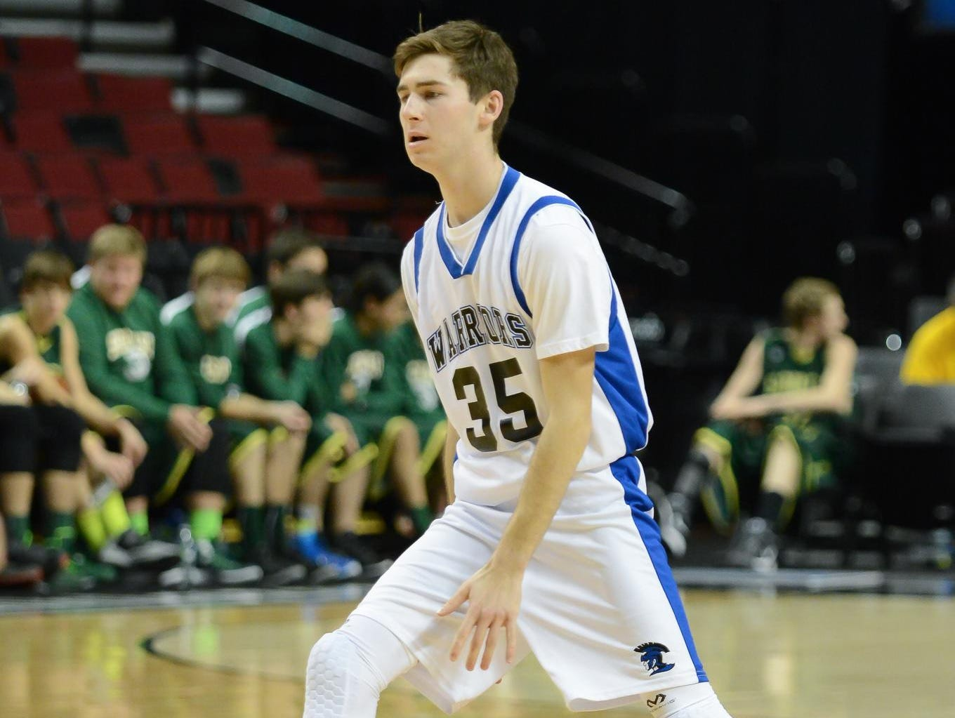 Willamette Valley Christian junior Cahldwell Peetz plays against South Wasco County at the Moda Center Wednesday.