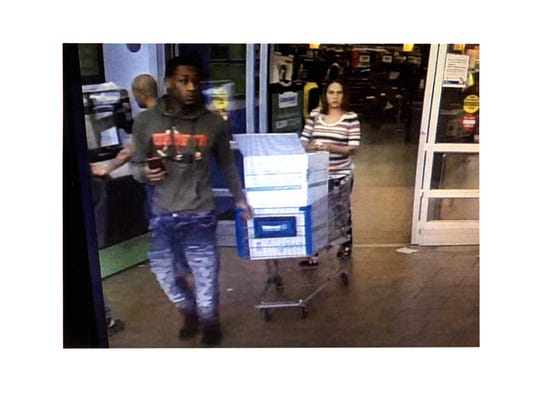 West Milwaukee police are searching for the woman pushing the cart after an investigation revealed she sprayed two people with pepper spray on Sunday, April 1, in the Walmart parking lot, 4140 W. Greenfield Ave. The man pictured is her accomplice.
